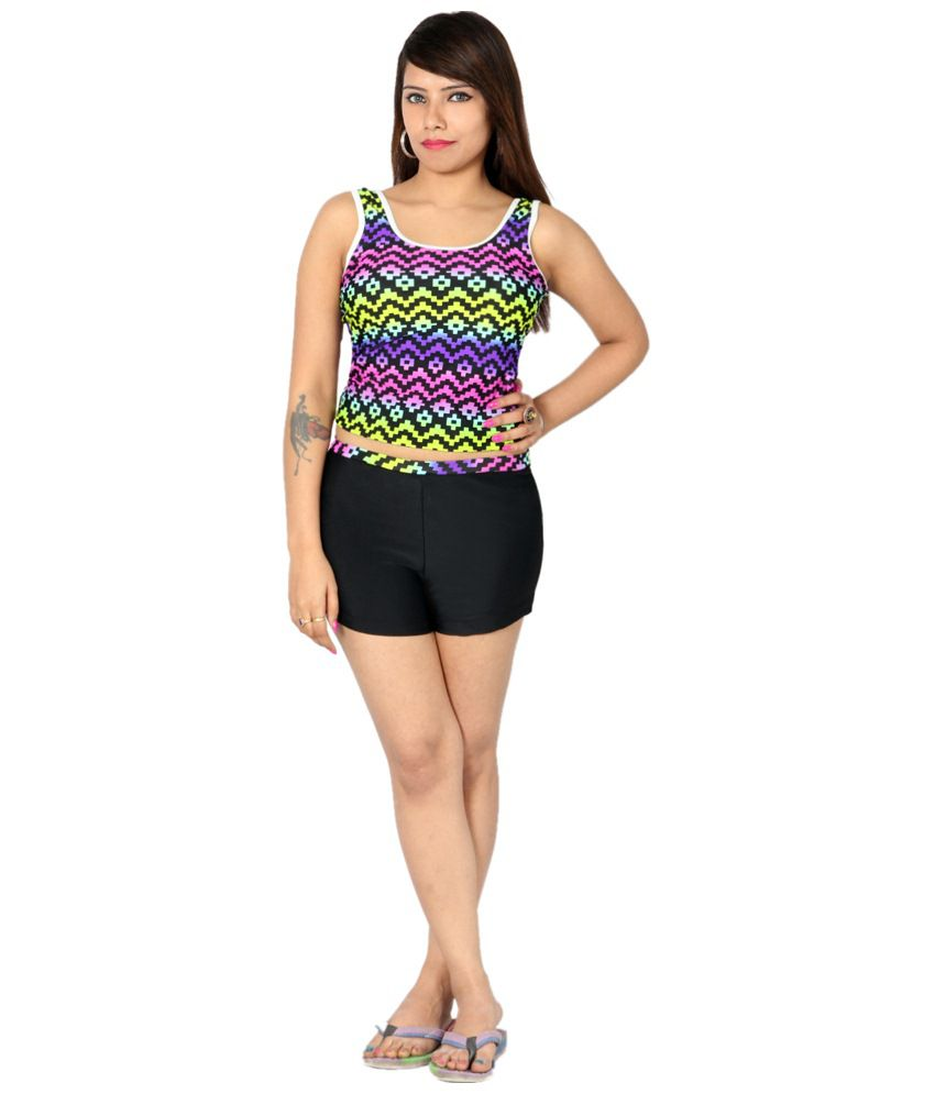 Indraprastha Multicolour Printed Tankini Shorts Swimsuit/ Swimming Costume