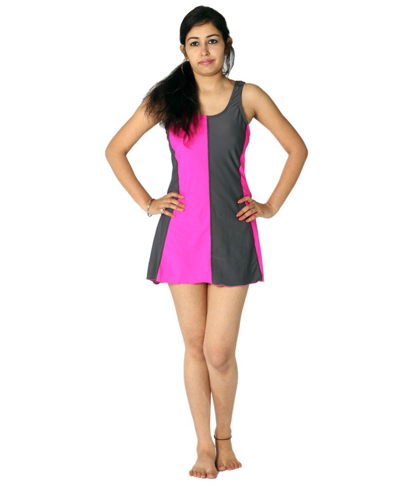 Indraprastha Neon Pink & Gray Swimsuit/ Swimming Costume