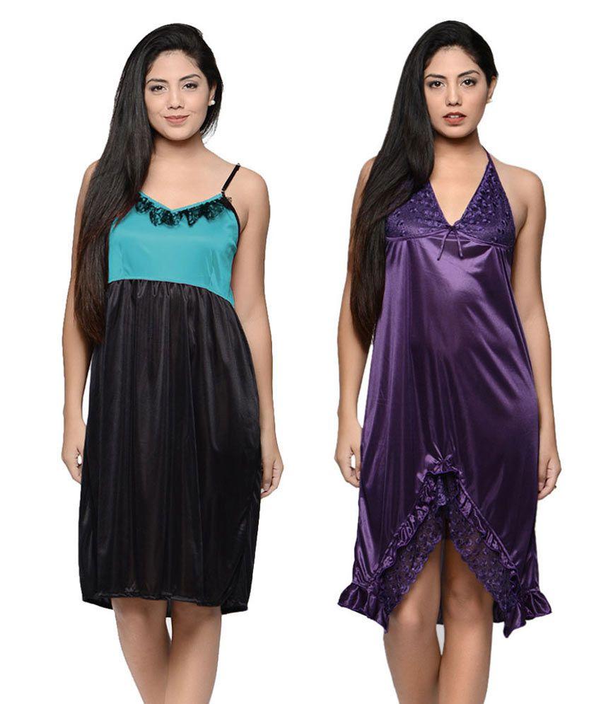 Klamotten Multi Color Satin Baby Doll Dresses