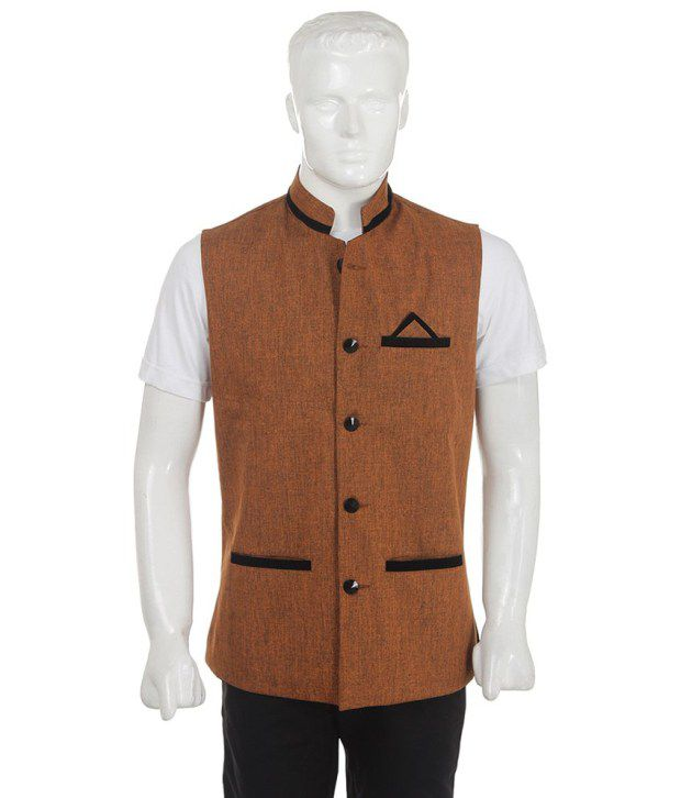 SelfieSeven Brown Solid Semi-Formal Waistcoat