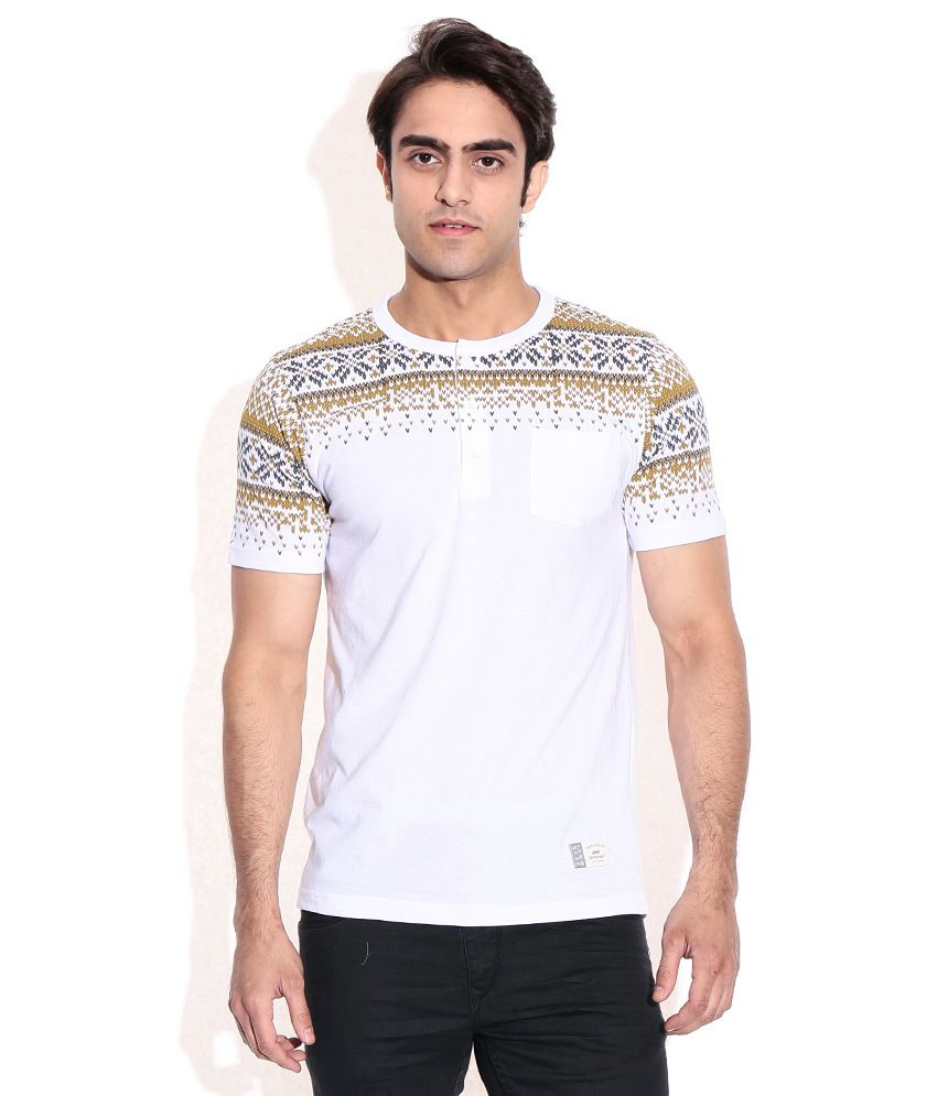 Spunk White Round Neck T-Shirt