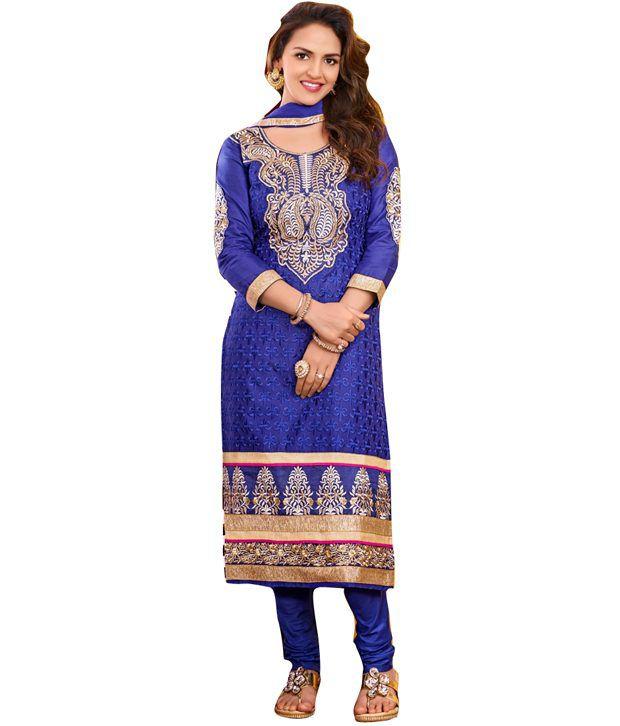 Cutie Pie Blue Printed Georgette Regular Dress Material