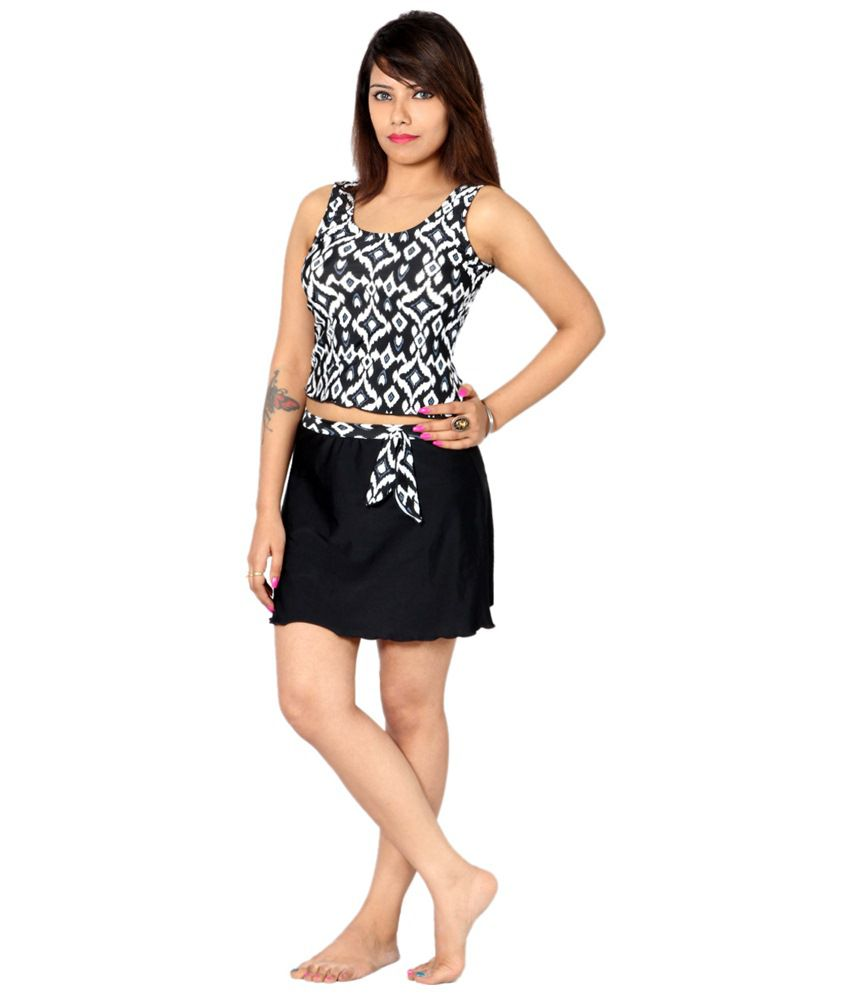Indraprastha Black & White Striped Tankini Swimsuit/ Swimming Costume