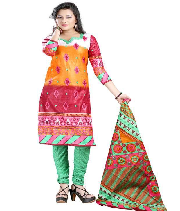 Laxmi Sarees Multi Color Cotton Silk Unstitched Dress Material