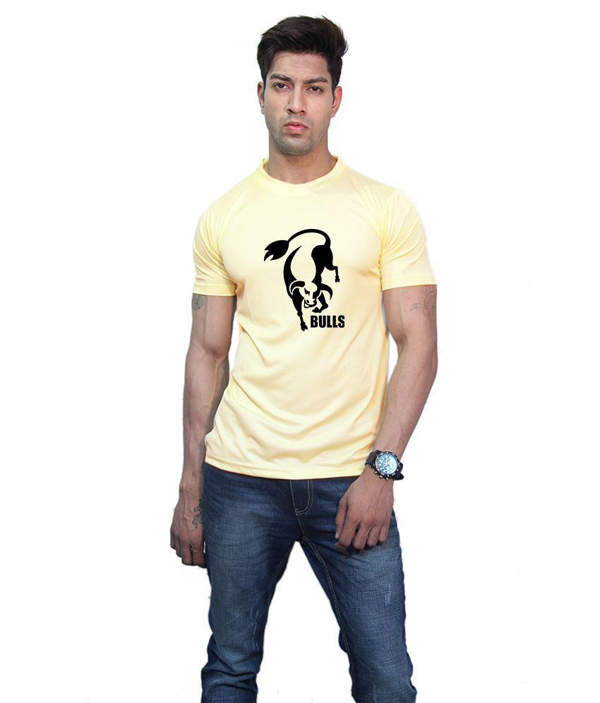 Printland Yellow Printed Half T-shirt