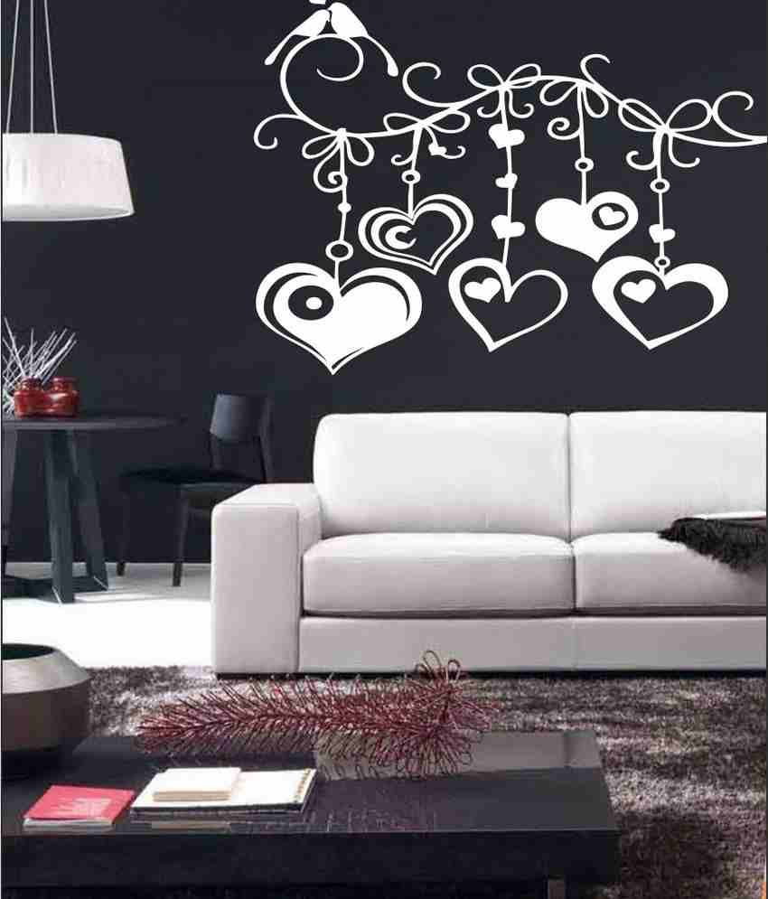wall1ders birds with hanging hearts white stickers mega