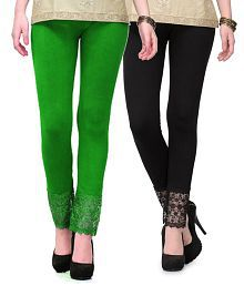 Green And Black Lace Plazzo Legging(Viscose Lycra-4 Way Stretchable)