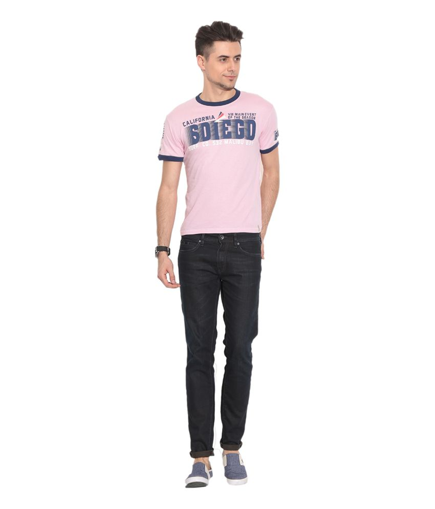 Alcot Pink Cotton Printed T-Shirt