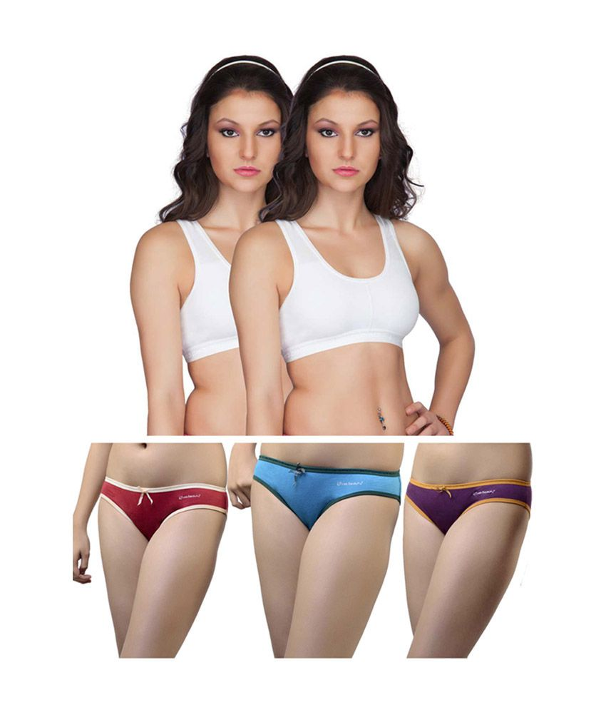Buy Eve s Beauty Multi Color Cotton Bra   Panty Sets Pack of 5 Online at Best  Prices in India - Snapdeal 554e5703e