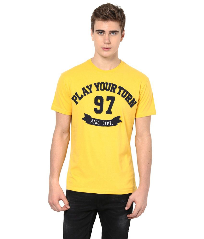 Monteil & Munero Yellow & Black Printed Half Sleeves T Shirt