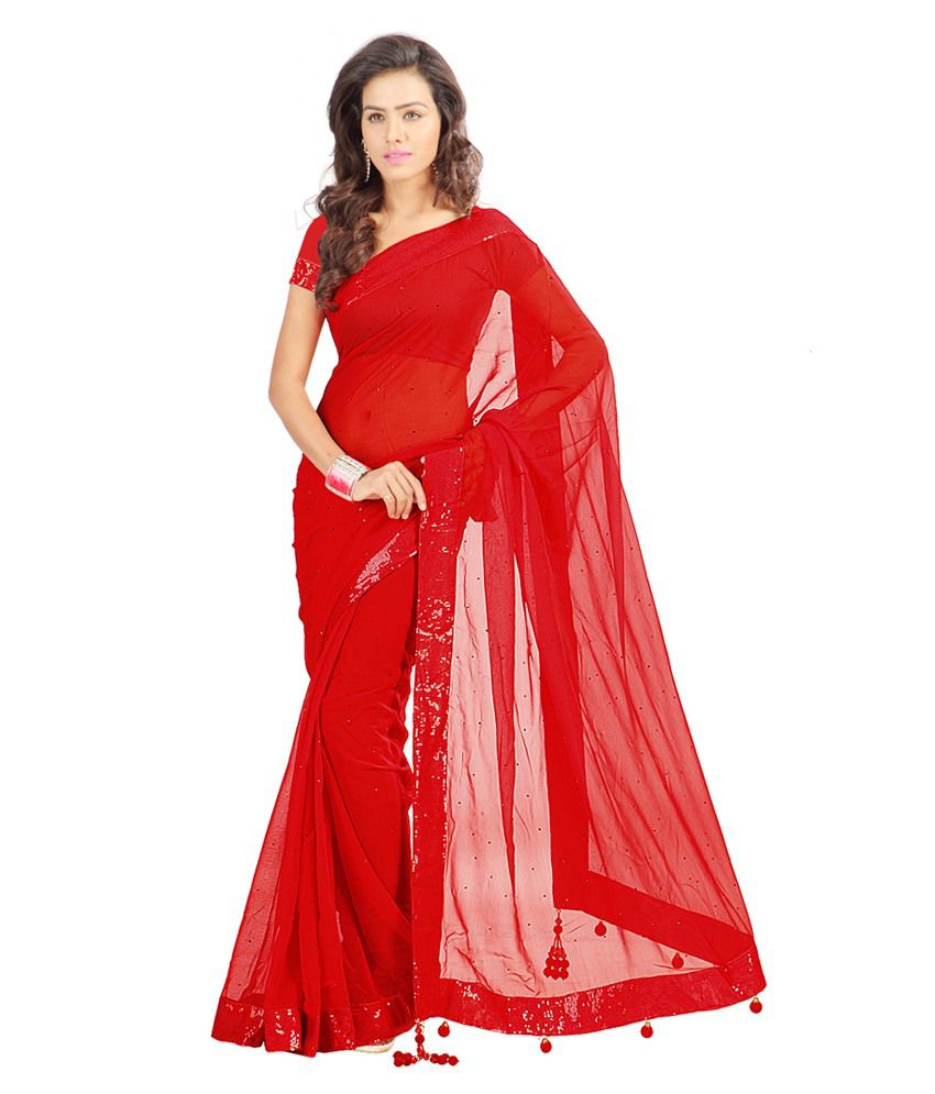 1a80881154 Stylo Sarees Red and Pink Georgette Saree - Buy Stylo Sarees Red and Pink Georgette  Saree Online at Low Price - Snapdeal.com