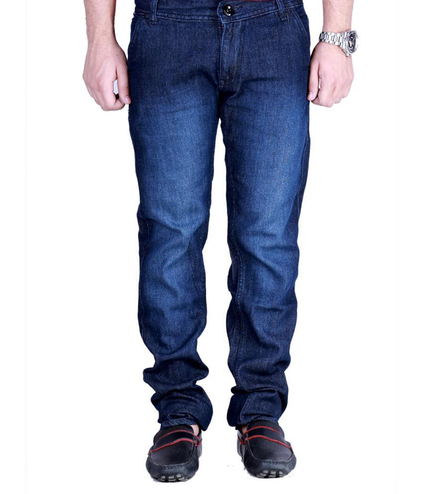 Flying Inthing Blue Cotton Faded Men's Jeans