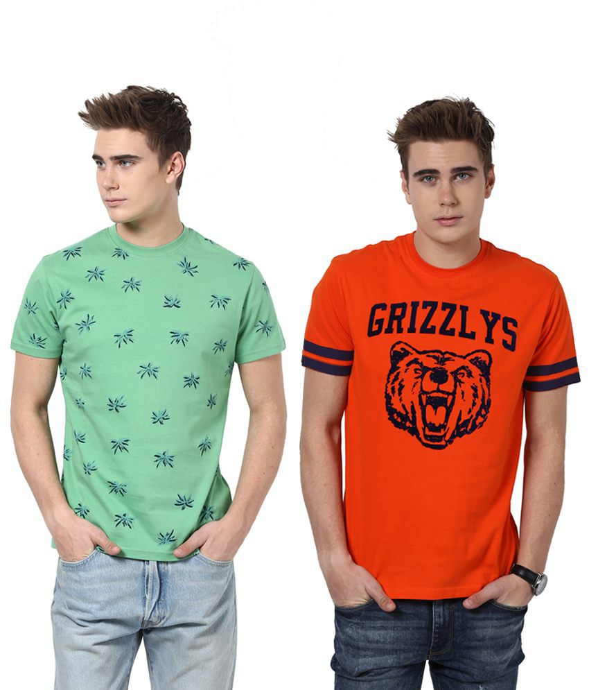 Monteil & Munero Orange And Green Half Sleeves T Shirt Pack Of 2