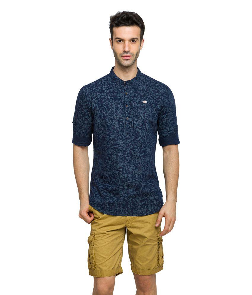 Status Quo Navy 100 Percent Cotton Casuals Shirt