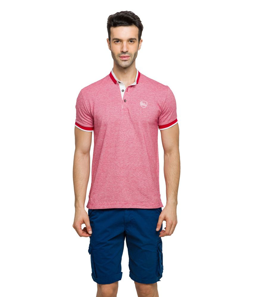 Status Quo Red Cotton Henley Basics T-Shirt