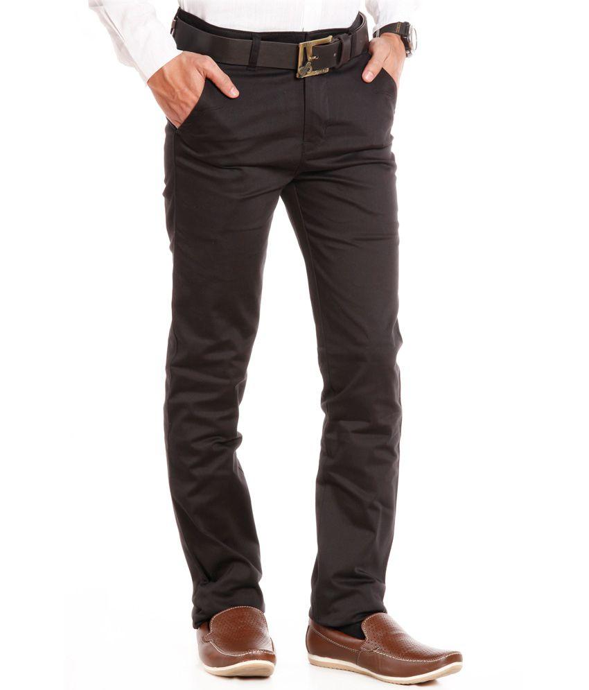 The Shirt Shop Black Cotton Formal Trouse
