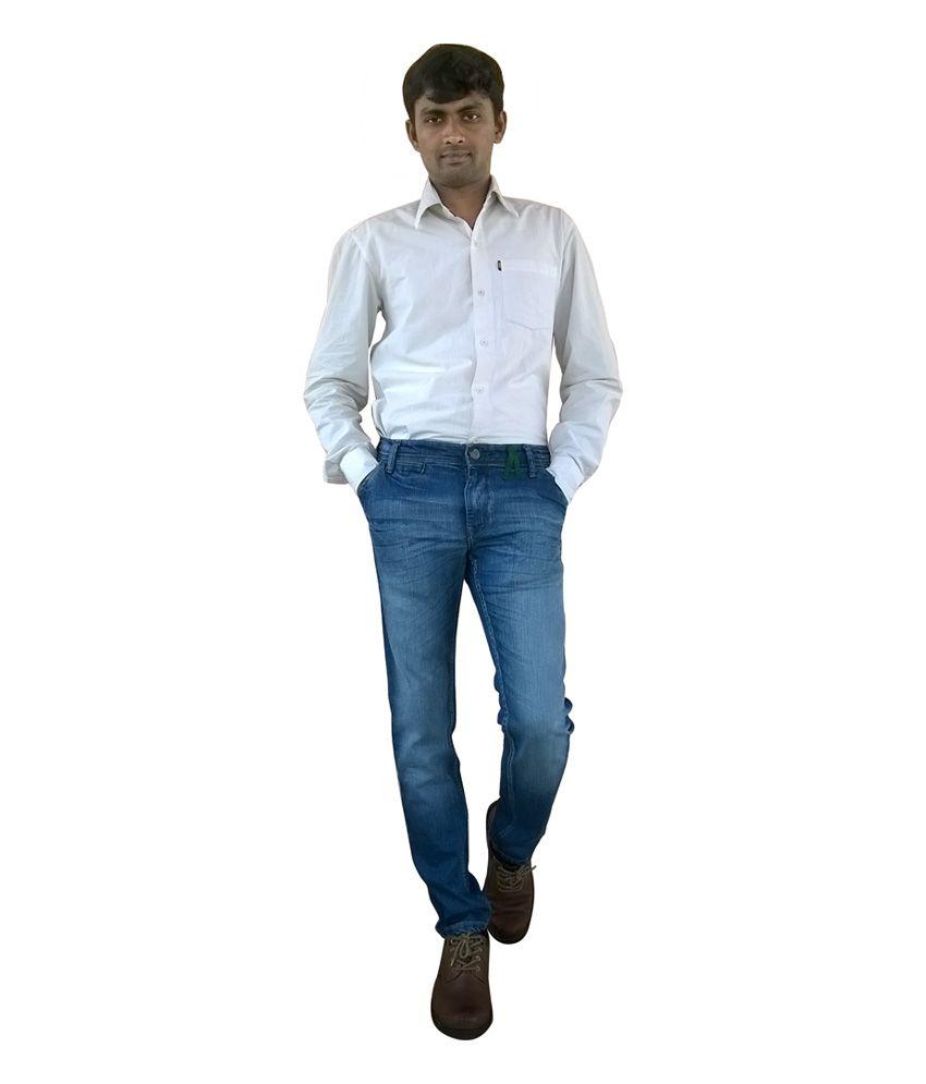 Tianzhu Blue Cotton Blend Jeans
