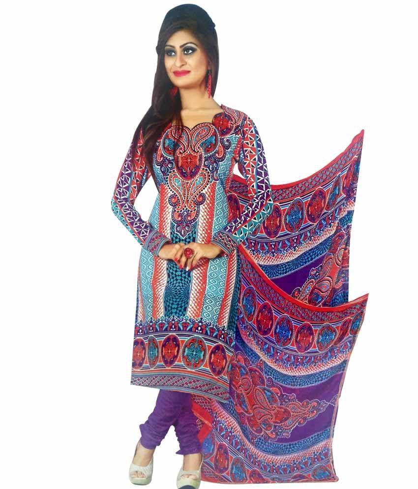 Panache Multi Color Cotton Unstitched Dress Material