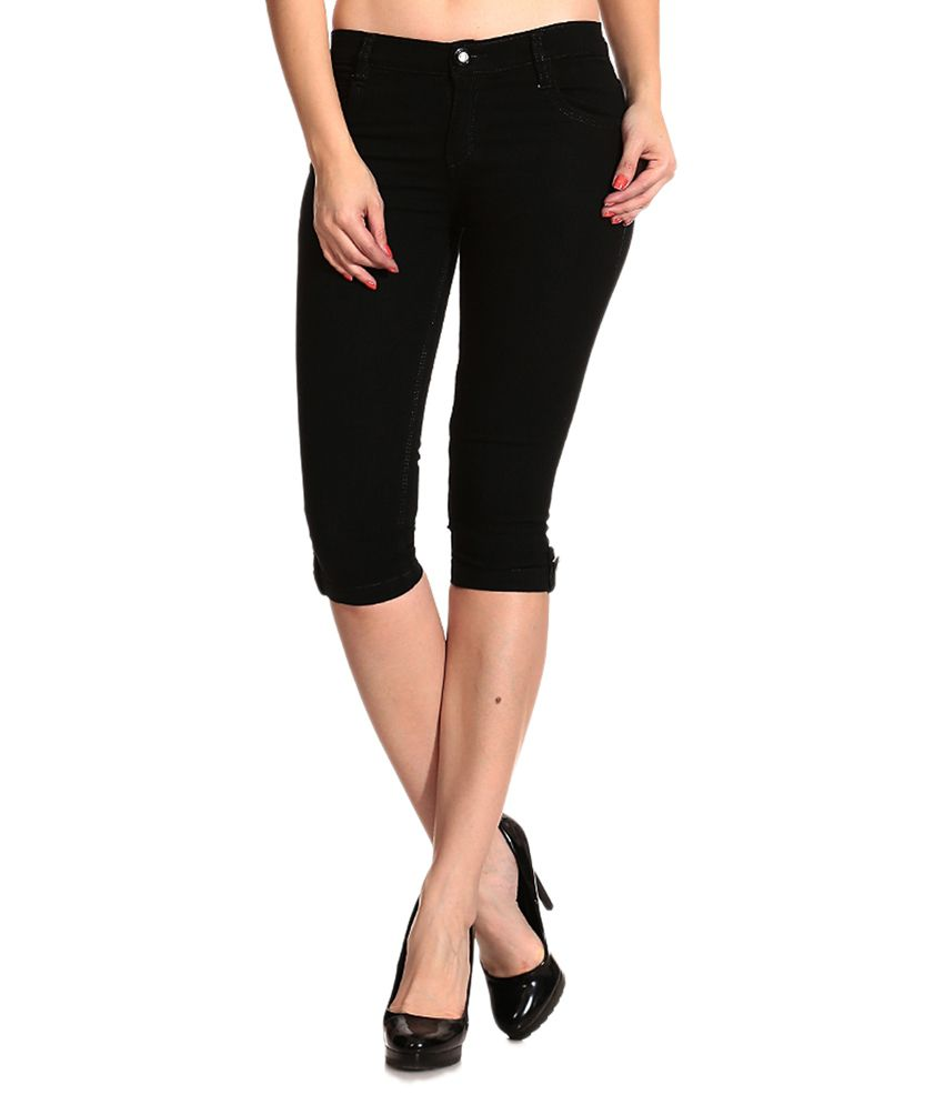 Buy Ganga Black Denim Capris Online at Best Prices in India - Snapdeal