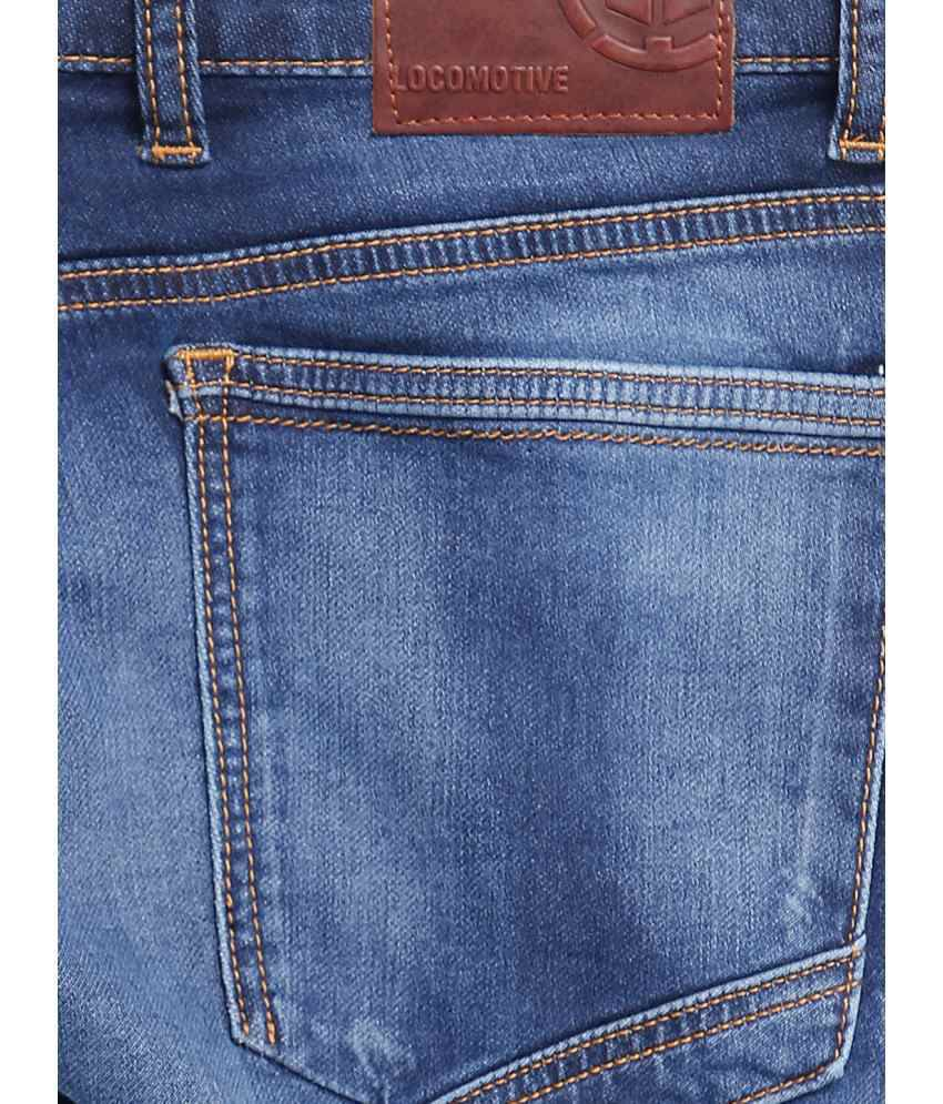 Locomotive Blue Cotton Blend Slim Jeans