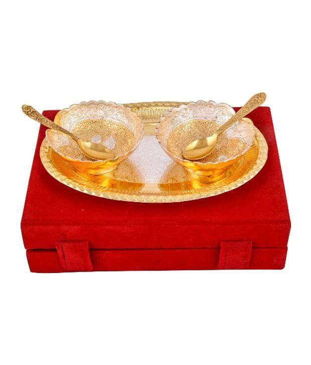 RAJLAXMI Silver & Gold Plated 2 Heavy Dil Bowl With Spoon With Tray