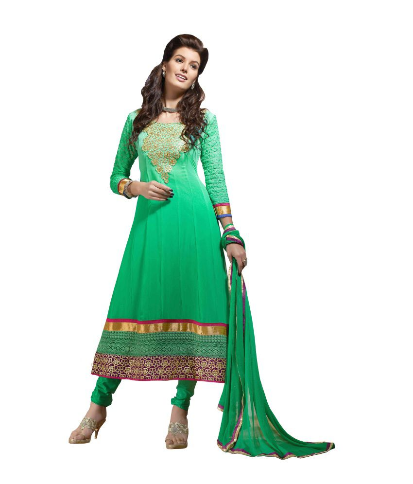 Vaamsi Green Faux Georgette Unstitched Dress Material