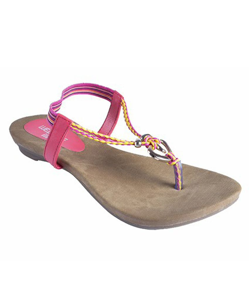 Metrogue Pink Synthetic Leather Sandals