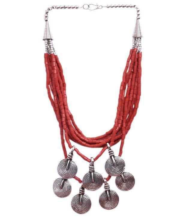 Imli Street Red Silver Design Necklace