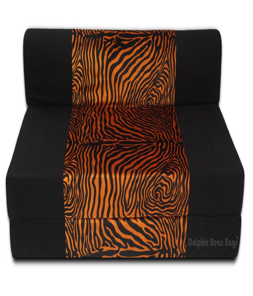 Dolphin zeal 1 seater sofa bed black golden zebra for Sofa bed 5ft