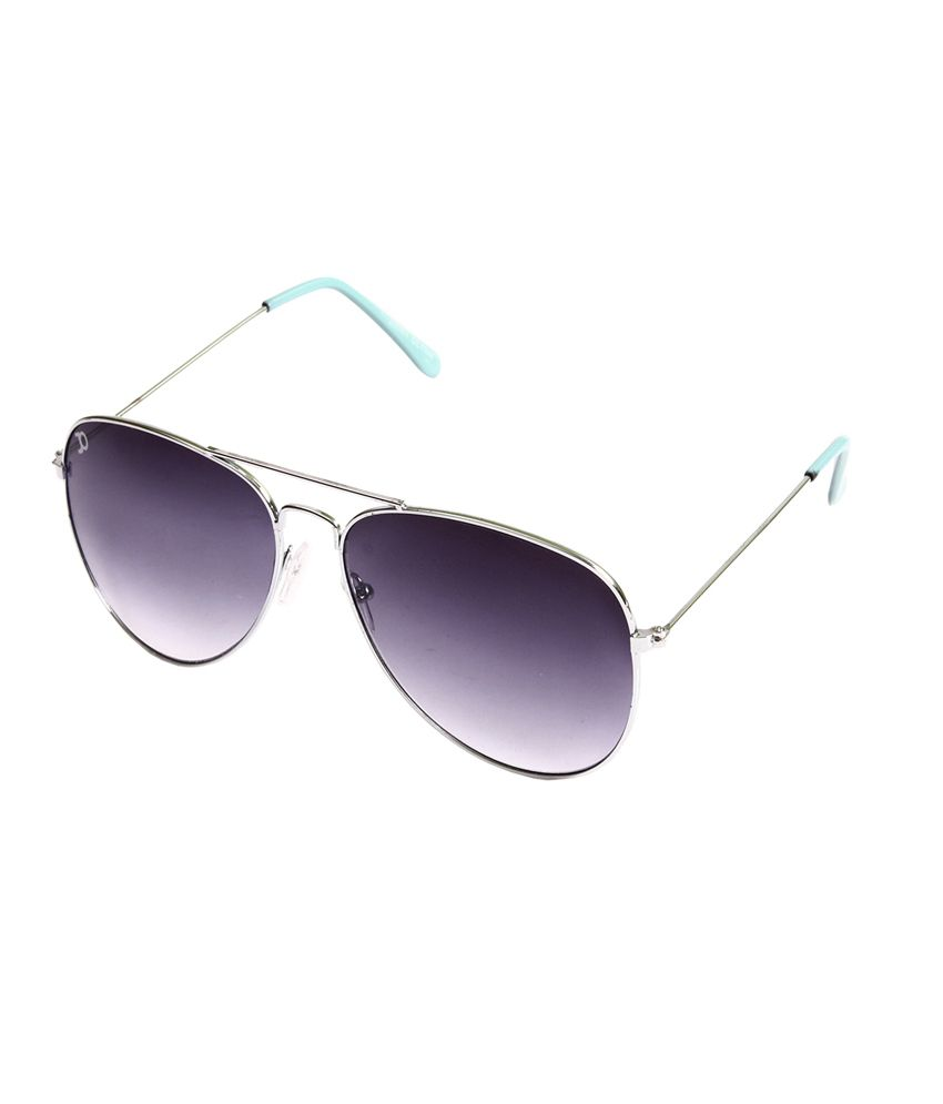 Jimmy Octan Silver Light Blue Aviator Sunglasses
