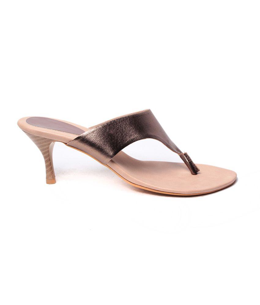 Pandora 15 Gold High Heel Open Toe Back Open Faux Leather Women's Footwear
