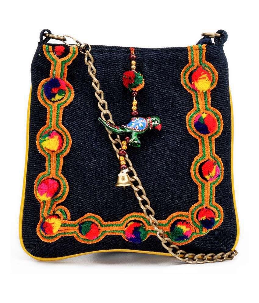Stylocus Navy Zip Leather Sling Bag