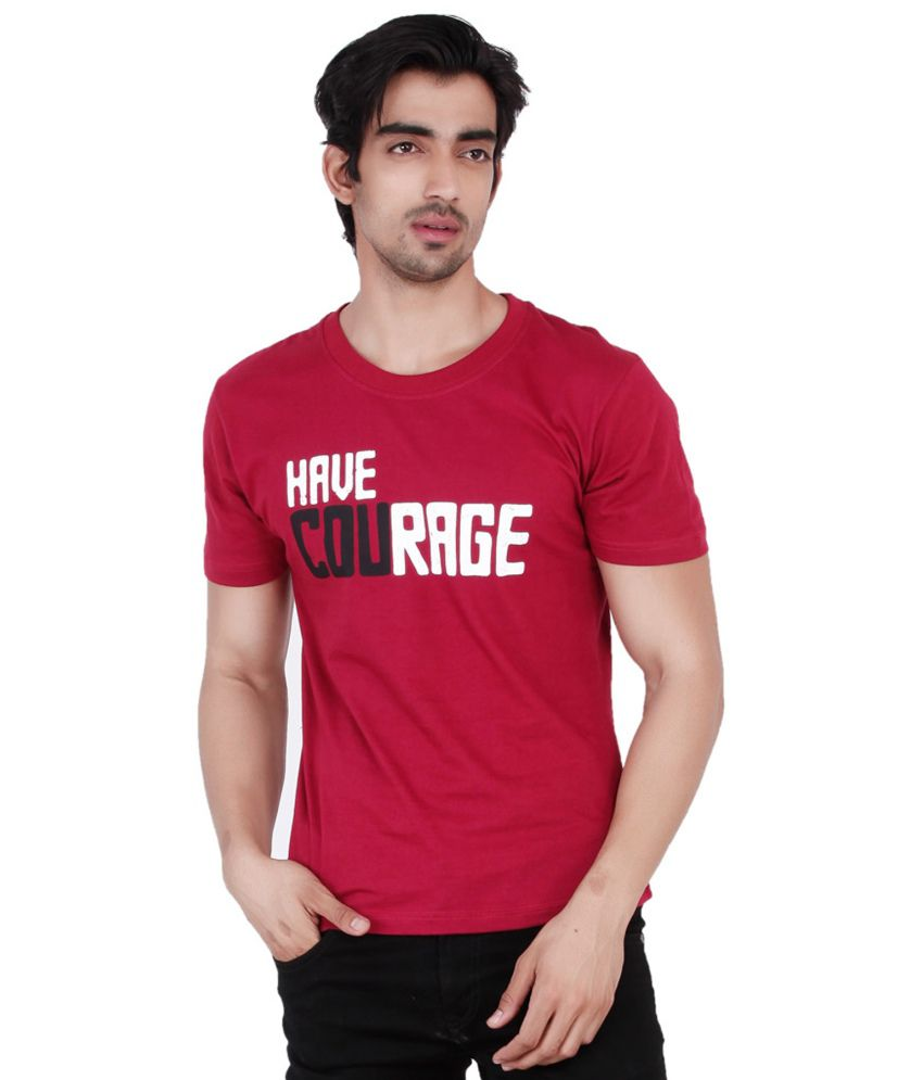 Change360 Maroon Cotton Have Courage Chest Print T Shirt