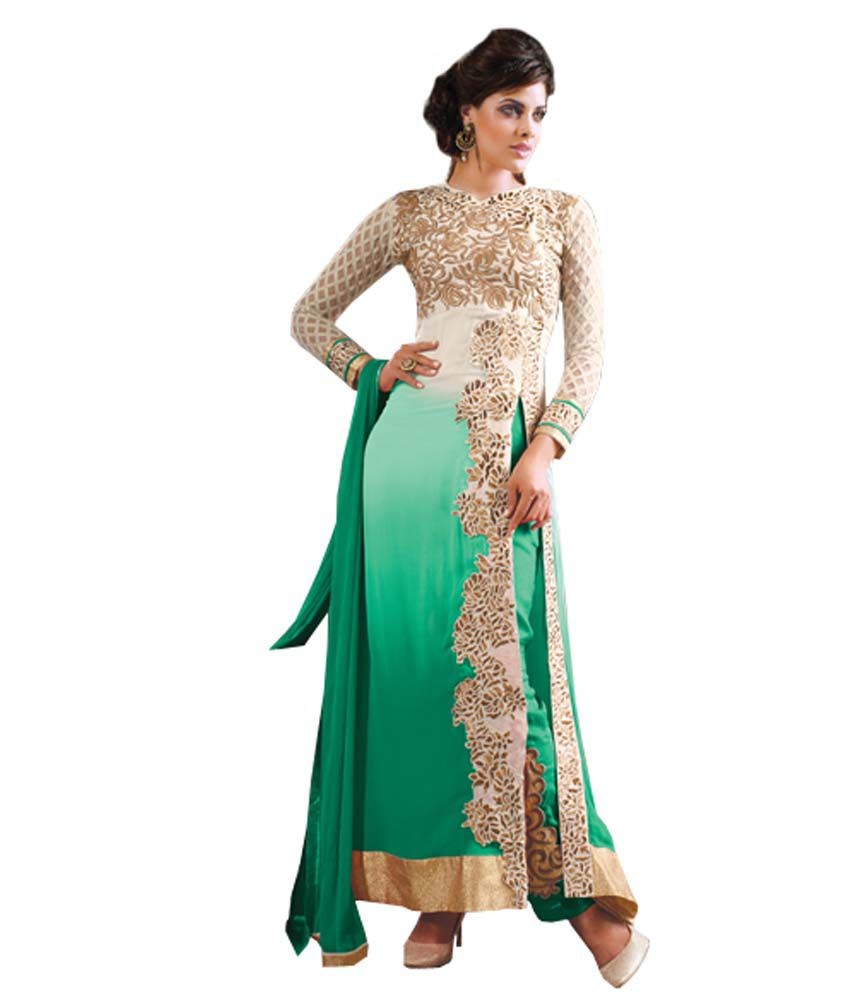 Fashion book green embroidered faux georgette straight fit