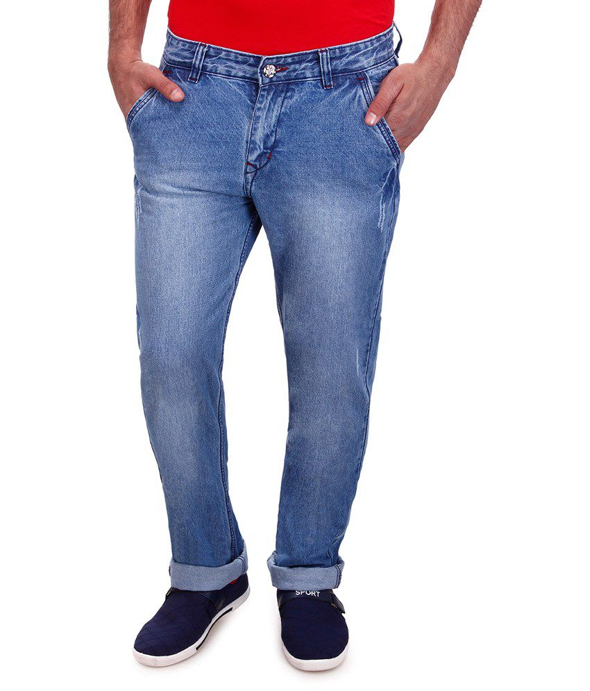 Flying Men Blue Cotton Straight Fit Jeans For Men