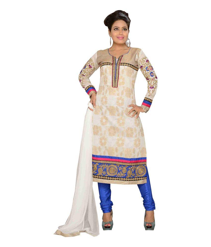 Jiiya Art Blue Chanderi Embroidered Stitched Salwar Suit