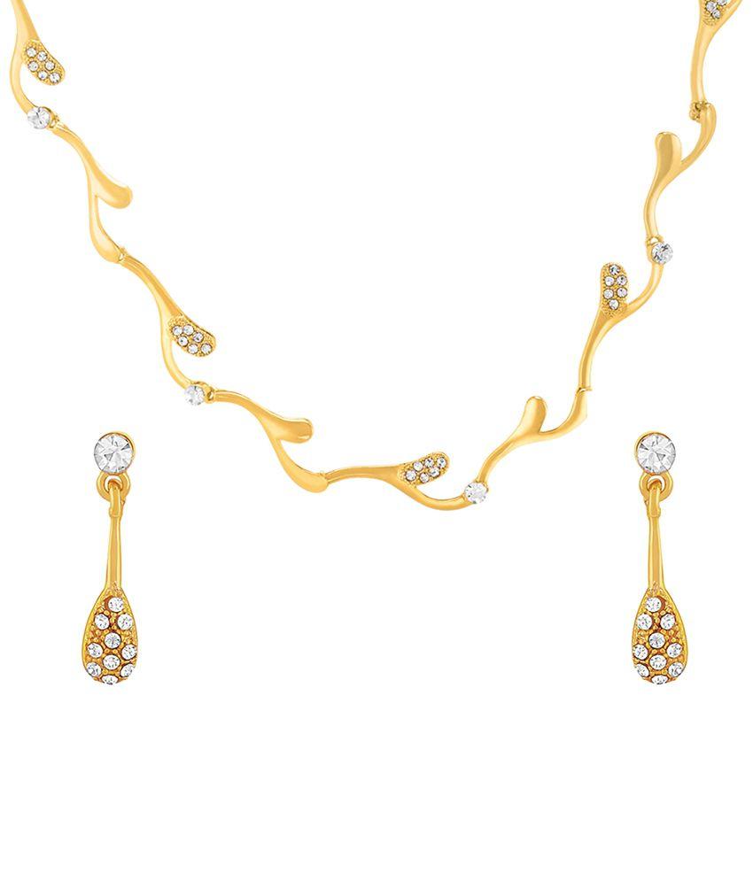 Oviya Gold Plated Enduring Drop Necklace Set