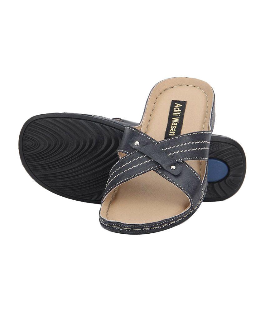 Aditi Wasan Genuine Leather Blue Comfort Slippers
