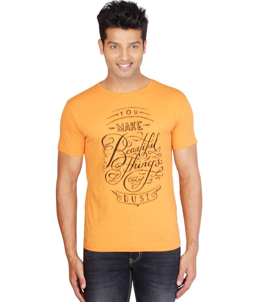 Hw Orange Cotton Printed Half Sleeves T-shirt for Men's