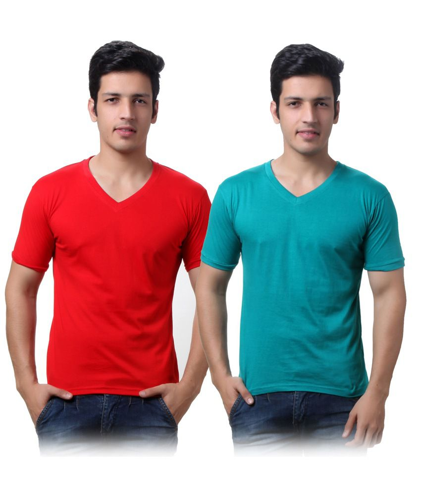 TeeMoods Pack of Two Men's V Neck Cotton Tshirts
