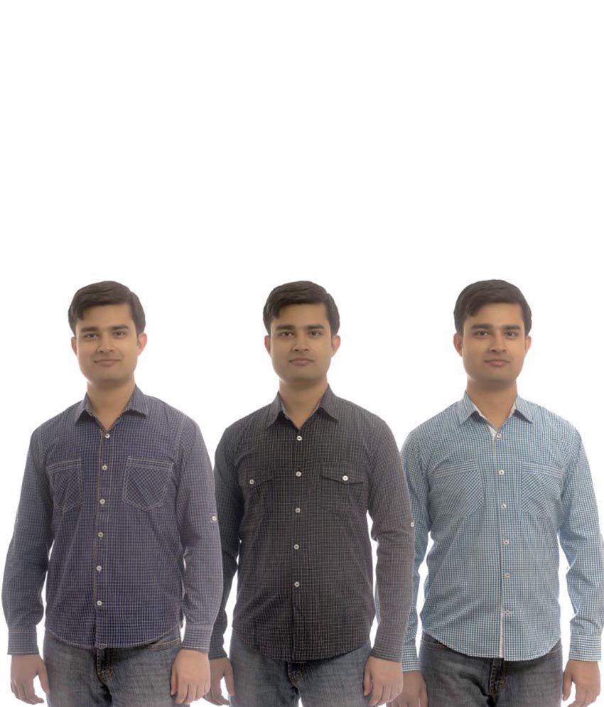 Wajbee Cotton Blend Checks Regular Full Casuals Shirt-Combo Of 3