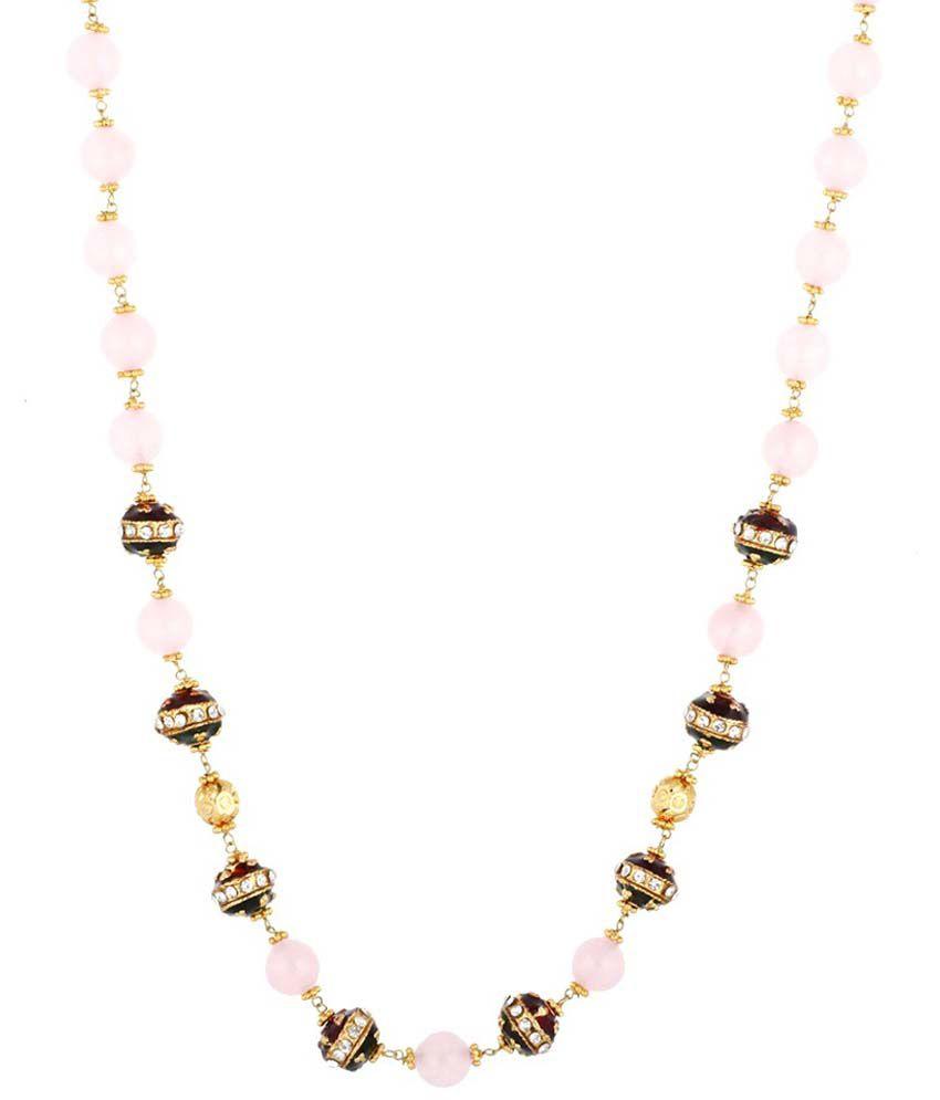 Single Line Beads: Aaishwarya Single Line Pink Bead Meenakari Necklace: Buy