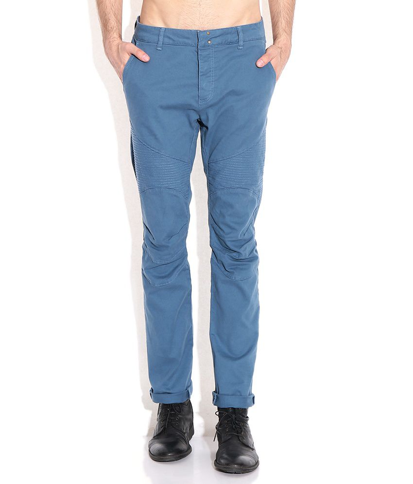 Breakbounce Blue Slim Fit Chino Trousers