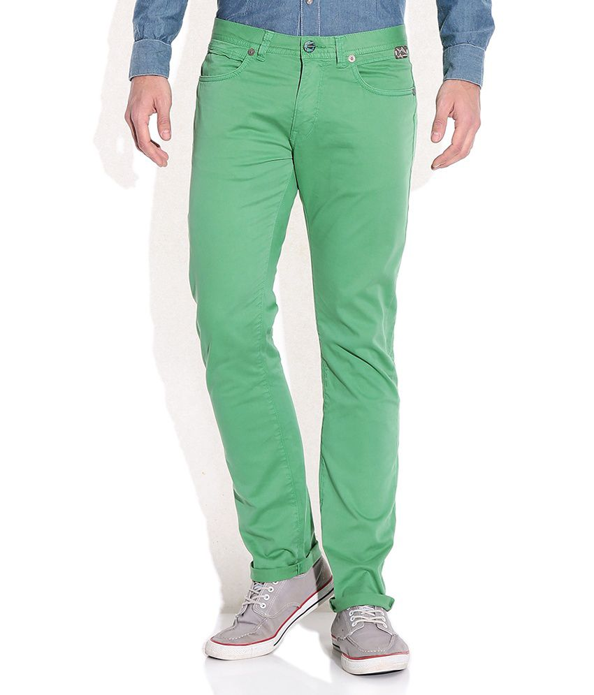 Breakbounce Green Comfort Fit Chino Trousers