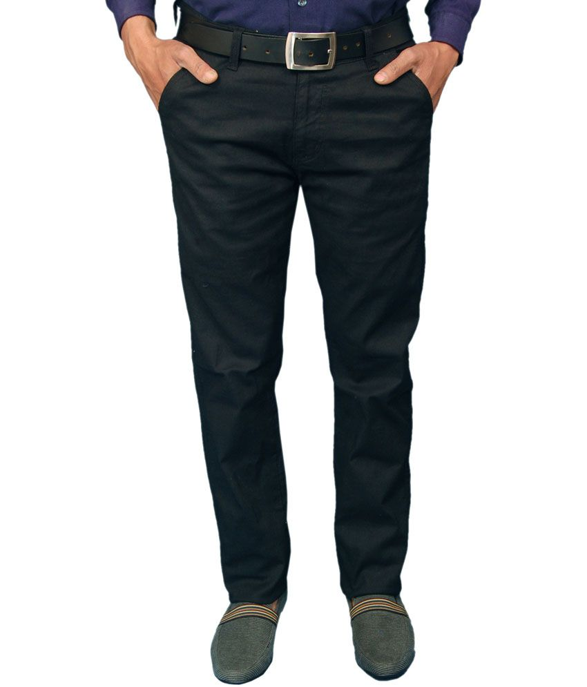 Fashion N Style Black Cotton Blend Casual Trouser For Men
