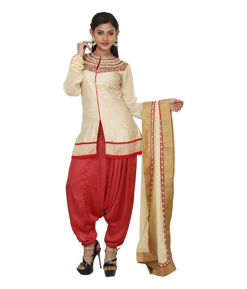 Pankhudi Gray Faux Georgette Border Work Semi Stitched Salwar Suit