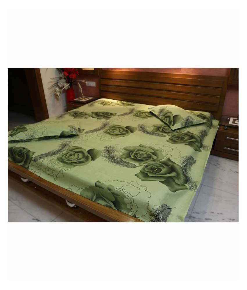 V 39 tel home decor green geometrical cotton double bedsheet for Snapdeal products home kitchen decorations