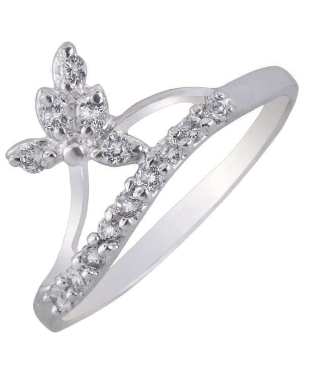 DDPearls sterling silver and American Diamond leaf ring for women