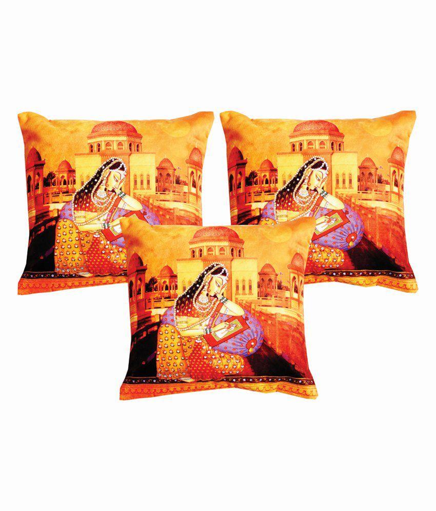Dream Care Multicolour Silk Printed HD Printed wiith Gems Cushion Cover - Set of 3Pcs