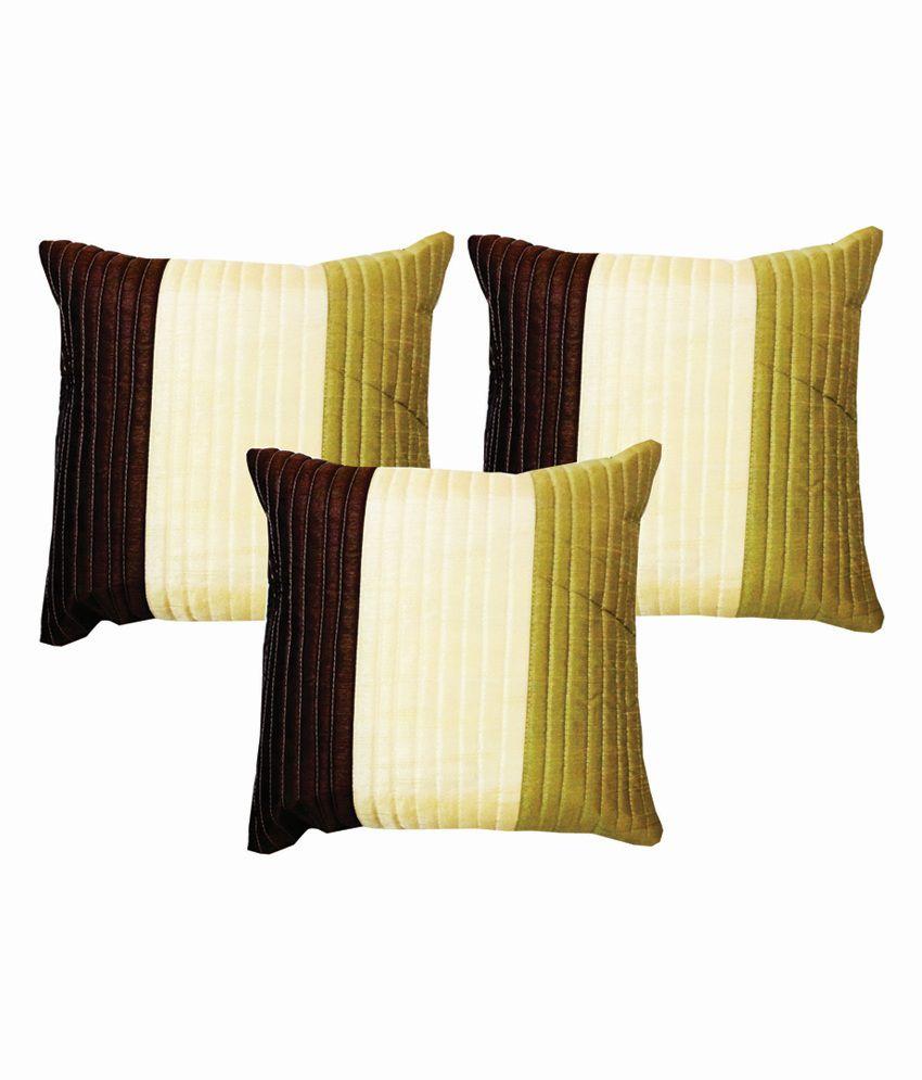 Dream Care Multicolour Silk Stripes Designer Cushion Cover - Set of 3Pcs
